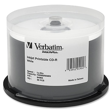 Verbatim® DataLifePlus 700MB White Inkjet Printable CD-R, Spindle, 50/Pack