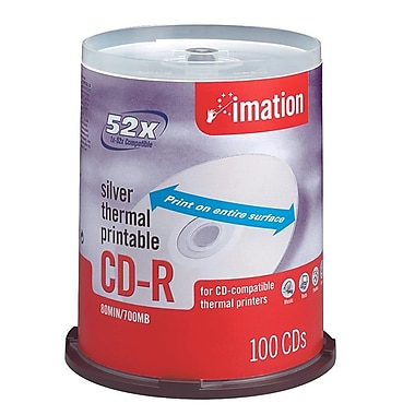 Imation 700MB 52X Silver Thermal Printable CD-R, Spindle, 100/Pack