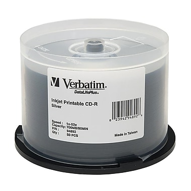 Verbatim® DataLifePlus 700MB Silver Inkjet Printable CD-R, Spindle, 50/Pack