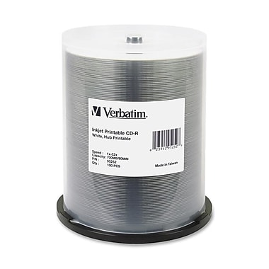 Verbatim® 700MB White CD-R, Spindle, 100/Pack