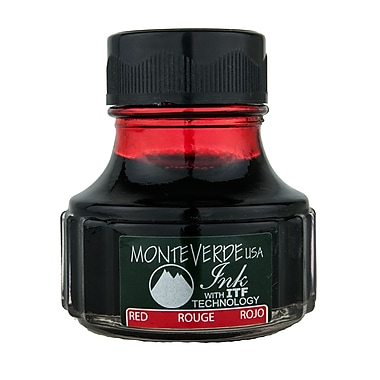 Monteverde Fountain Pen Ink Bottle Refills, 90ML, Red