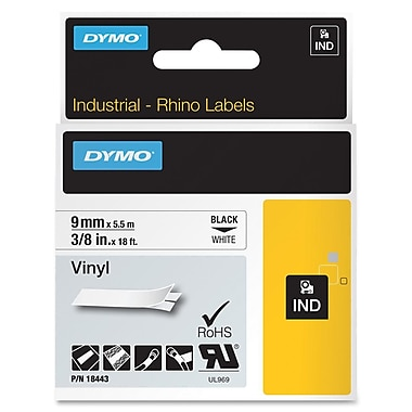 Dymo® RhinoPro Industrial Label Tape, 0.38in.(W) x 18'(L), White