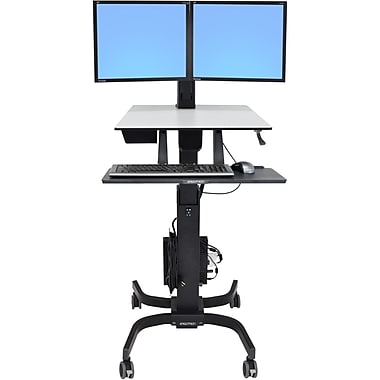 Ergotron® WorkFit-C Up To 32.5 lbs. 22in. LCD Monitor Dual Sit-Stand Workstation Computer Stand