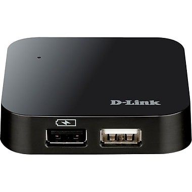 D-Link® 6' 4 Port High Speed USB 2.0 Hub, Black