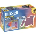 Maxell® Plastic Slimline Jewel Case, Blue/Red/Gold/Teal/Chocolate, 40/Pack