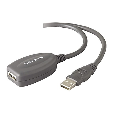 Belkin® 16' A/A USB 1.1 Active Extension Cable, Gray
