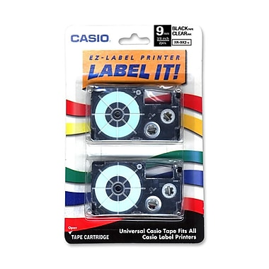 Casio® XR9-XS 9 mm White on Clear Label Printer Tape For CWL-300, 2/Roll