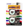 Casio® XR9WES 9 mm Black on White Label Printer Tape For CWL-300, 2/Roll