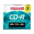 Maxell® 700MB CD-R, Slim Jewel Case, 5/Pack