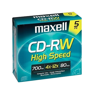 Maxell® 700MB CD-RW High Speed, Jewel Case, 5/Pack