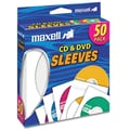 Maxell® CD/DVD Sleeves, White, 50/Pack