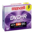Maxell® 4.7GB DVD+R, Jewel Case, 5/Pack