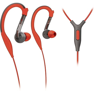 Philips SHQ3205/28 ActionFit Sports Earhook Headset With Mic, Red