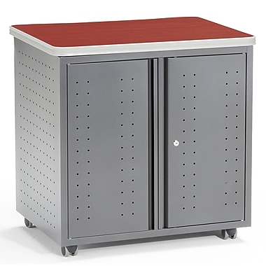 OFM 28in. Melamine Utility/Fax/Copy Table, 2-Drawer, Cherry