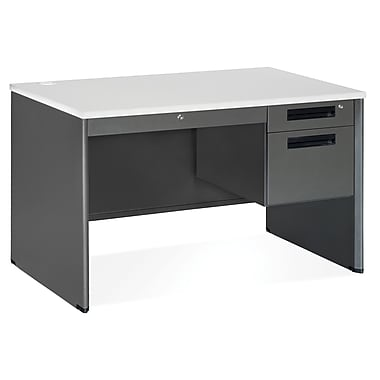 OFM Executive Series 77348 Single Pedestal Desk, Gray Nebula