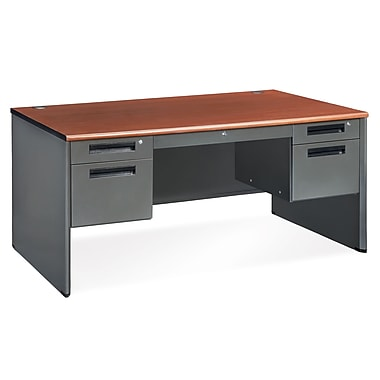 OFM Executive Standard Double Pedestal Panel End Desk, Cherry (77360-CHY)