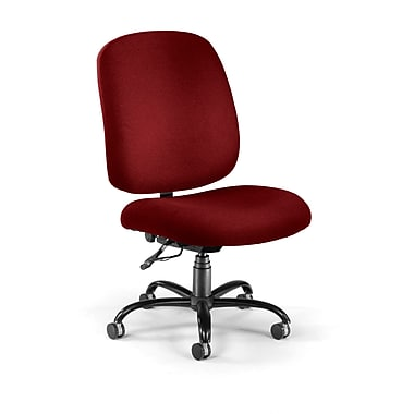 OFM Fabric Armless Big And Tall Task Chair, Wine