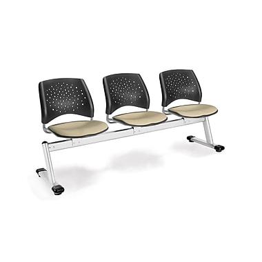 OFM Star Series Fabric 3 Seat Beam Seating, Khaki