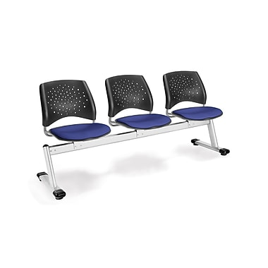 OFM Star Series Fabric 3 Seat Beam Seating, Royal Blue