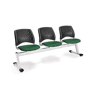 OFM Star Series Fabric 3 Seat Beam Seating, Forest Green
