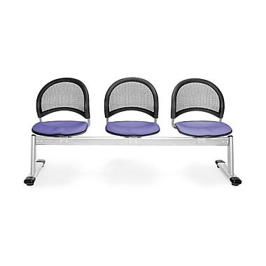 OFM Moon Series Fabric 3 Seat Beam Seating, Lavender