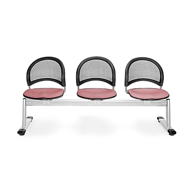 OFM Moon Series Fabric 3 Seat Beam Seating, Coral Pink