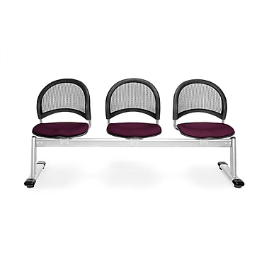 OFM Moon Series Fabric 3 Seat Beam Seating, Burgundy