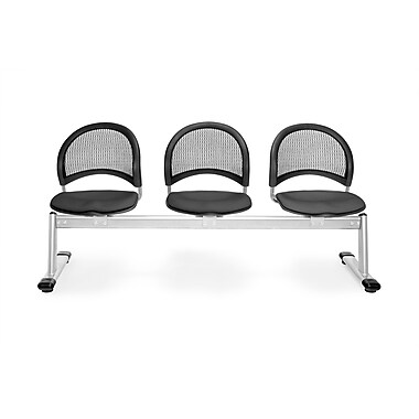 OFM Moon Series Fabric 3 Seat Beam Seating, Slate Gray