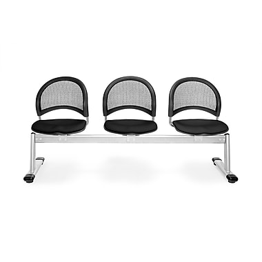 OFM Moon Series Fabric 3 Seat Beam Seating, Black