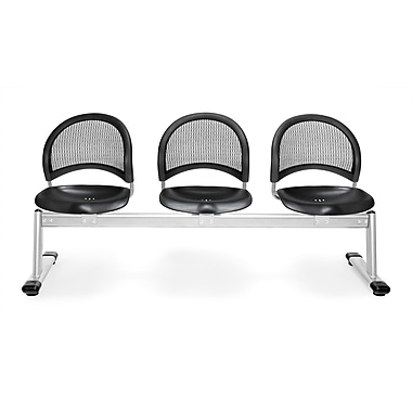 OFM Moon Series Plastic 3 Seat Beam Seating, Black