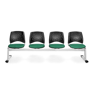 OFM Star Series Fabric 4 Seat Beam Seating, Shamrock Green