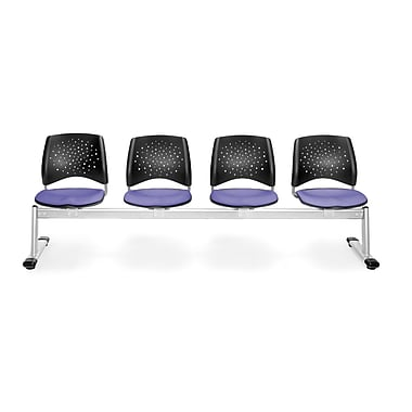 OFM Star Series Fabric 4 Seat Beam Seating, Lavender