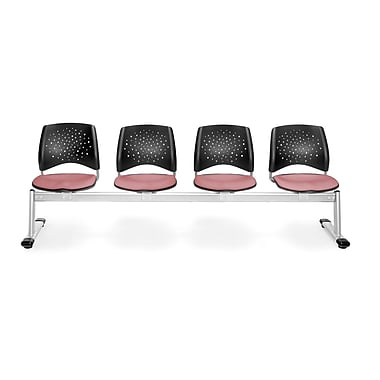 OFM Star Series Fabric 4 Seat Beam Seating, Coral Pink