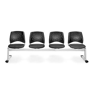 OFM Star Series Fabric 4 Seat Beam Seating, Slate Gray