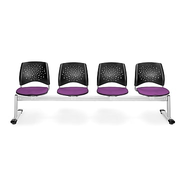 OFM Star Series Fabric 4 Seat Beam Seating, Plum