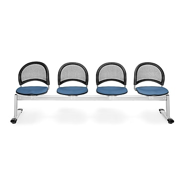 OFM Moon Series Fabric 4 Seat Beam Seating, Cornflower Blue