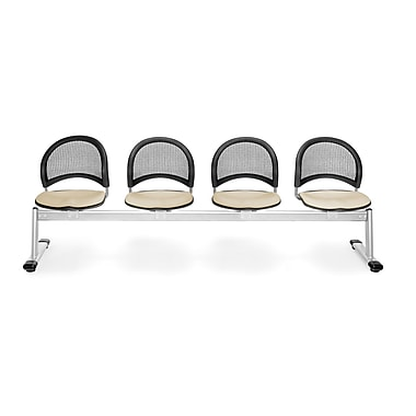 OFM Moon Series Fabric 4 Seat Beam Seating, Khaki