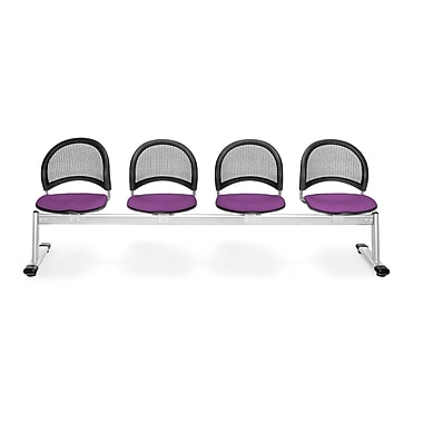 OFM Moon Series Fabric 4 Seat Beam Seating, Plum
