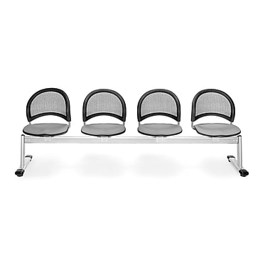 OFM Moon Series Fabric 4 Seat Beam Seating, Putty