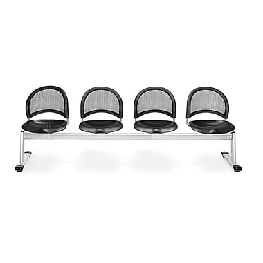 OFM Moon Series Plastic 4 Seat Beam Seating, Black