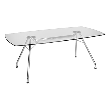 OFM 39in. W x 77in. L Glass/Stainless Steel Conference Table