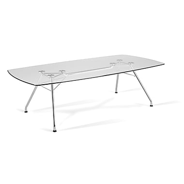 OFM 47in. W x 94in. L Glass/Stainless Steel Conference Table