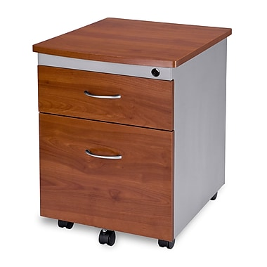 OFM 24in. Melamine Mobile File Pedestal, 2-Drawer, Cherry