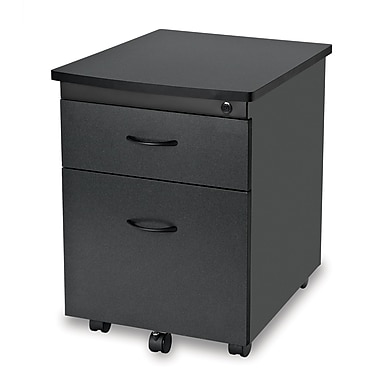 OFM 24in. Melamine Mobile File Pedestal, 2-Drawer, Graphite