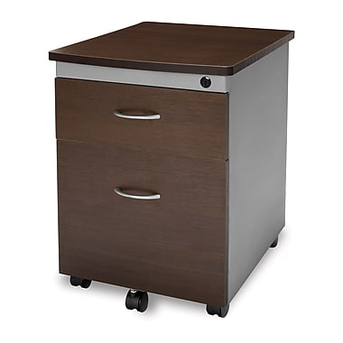 OFM 24in. Melamine Mobile File Pedestal, 2-Drawer, Walnut
