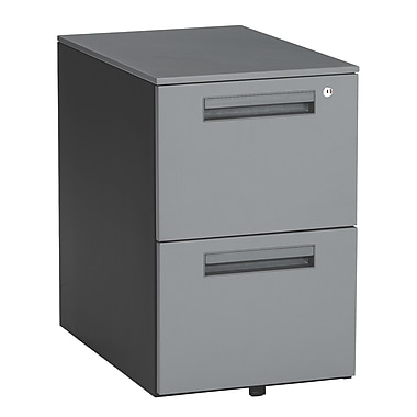 OFM 15.5in. Melamine Mobile File Pedestal, 2-Drawer, Charcoal