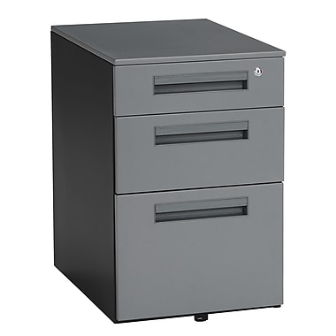 OFM 15.5in. Melamine Mobile File Pedestal, 3-Drawer, Charcoal