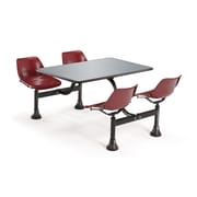 "OFM 24"" W x 48"" L Stainless Steel Group/Cluster Table And Chair, Maroon"