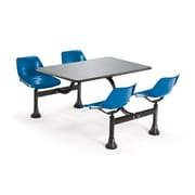 "OFM 24"" W x 48"" L Stainless Steel Group/Cluster Table And Chair, Navy"