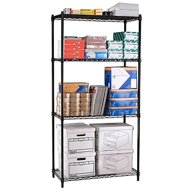 OFM Steel 72in.(H) x 36in.(W) x 24in.(D) Wire Shelving, Black